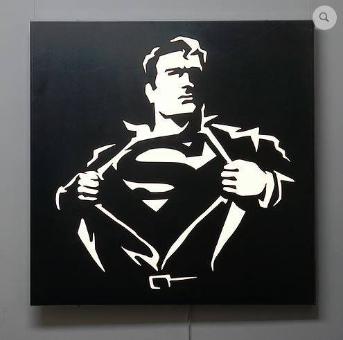 Superman illuminated wall panel